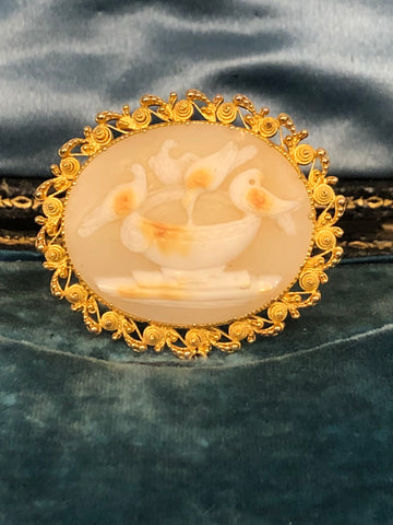 The Doves of Pliny, Georgian Mourning Brooch
