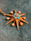 15ct Gold Victorian Turquoise and Diamond Pearl Star pendant and 18ct Pearl and Star