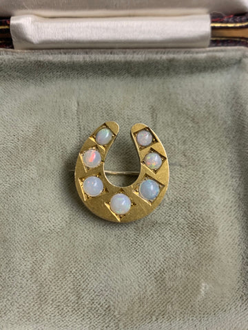 9ct Gold Victorian Opal Horseshoe Brooch