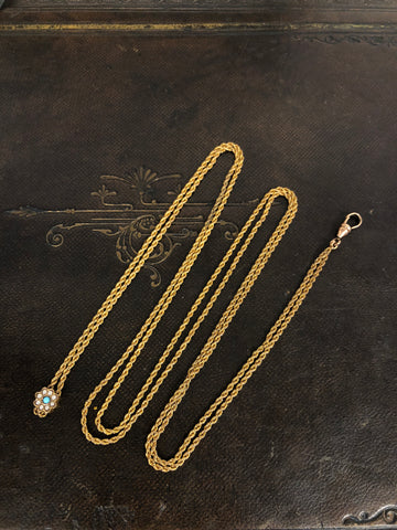 Antique 9ct Gold Long Chain with Slider
