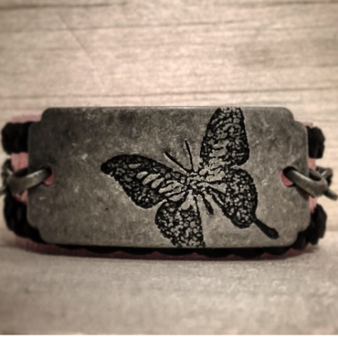 Butterfly, Leather-Wrap Bracelet - 4hearts