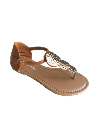 Brown 3-coin sandal
