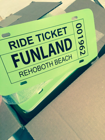 Funland Ticket license plate