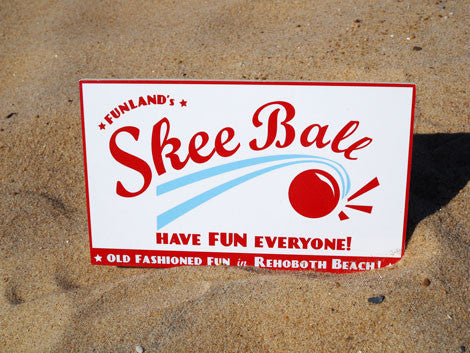 Wooden Skeeball Sign