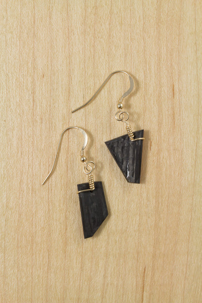 RideWear's Kaleidoscope Series #012 is a unique Earrings jewelry accessory handmade from carbon fiber bicycle frames with 14k gold or sterling silver accents.