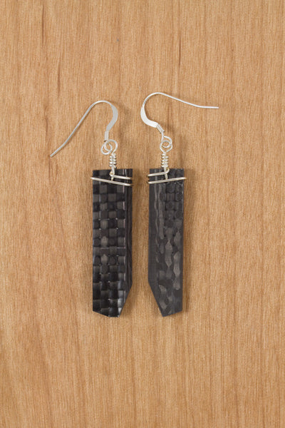 RideWear's Kaleidoscope Series #017 is a unique Earrings jewelry accessory handmade from carbon fiber bicycle frames with 14k gold or sterling silver accents.