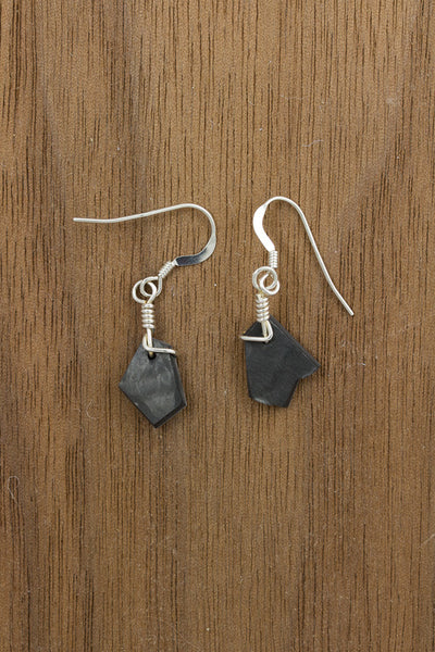RideWear's Storm Series #035 is a unique Earrings jewelry accessory handmade from carbon fiber bicycle frames with 14k gold or sterling silver accents.