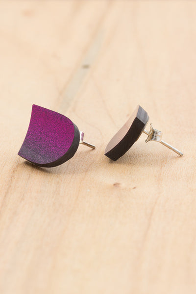 RideWear's Kaleidoscope Series #007s is a unique Stud Earrings jewelry accessory handmade from carbon fiber bicycle frames with 14k gold or sterling silver accents.