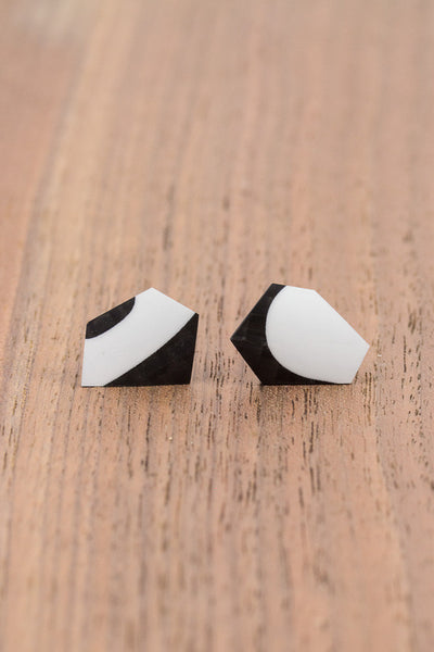 RideWear's SeaFoam Series #007s is a unique Stud Earrings jewelry accessory handmade from carbon fiber bicycle frames with 14k gold or sterling silver accents.