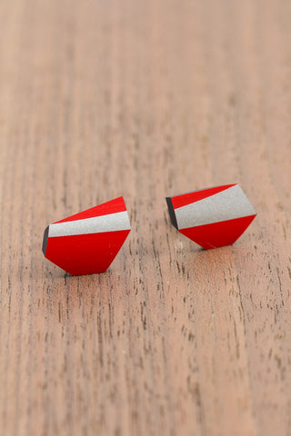 RideWear's Ruby Series #009s is a unique Stud Earrings jewelry accessory handmade from carbon fiber bicycle frames with 14k gold or sterling silver accents.