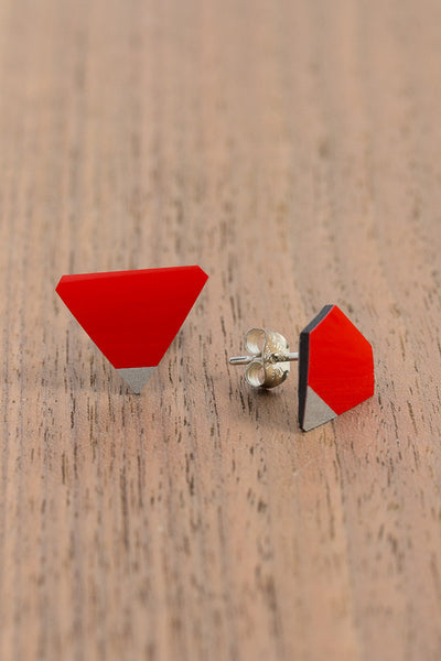 RideWear's Ruby Series #010s is a unique Stud Earrings jewelry accessory handmade from carbon fiber bicycle frames with 14k gold or sterling silver accents.