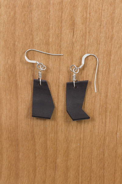 RideWear's Albino Series #021 is a unique Earrings jewelry accessory handmade from carbon fiber bicycle frames with 14k gold or sterling silver accents.
