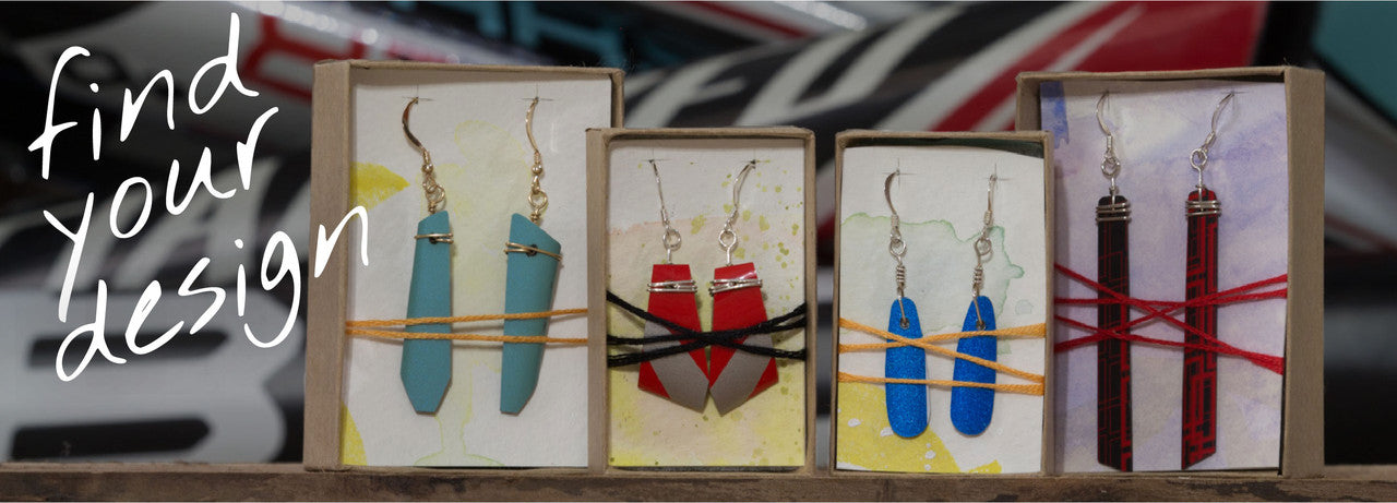 RideWear earrings made from carbon fiber bicycles