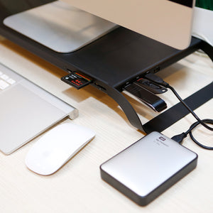 MONITORMATE ProStation 3.0 - Monitor Stand with USB hub, Fast Charger, and Card Reader - Storming Gravity