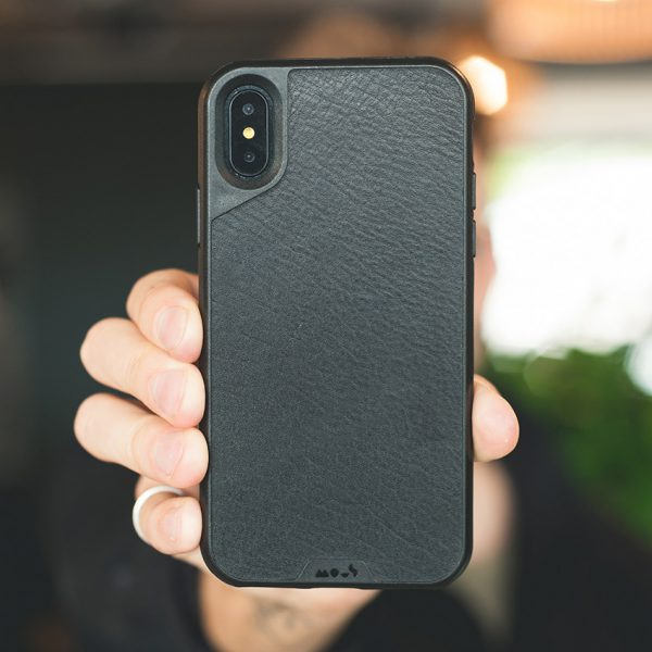 sale retailer 3e329 1bec9 Mous - Real Black Leather Case for iPhone X / Xs / Xs Max / XR