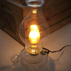 Vintporium Electric Oil Lamp Clear Brass Vintage Antique Table Lamp Portable Light Lighting light Fixture