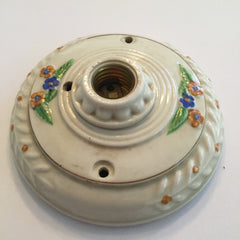 Porcelain Light Lighting Light Fixture Flush Mount Vintporium Vintage Antique Pull Chain