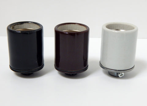 Heavy Duty Glazed Porcelain Medium Base Socket 1/8 ip Thread in Black, Bronze or White