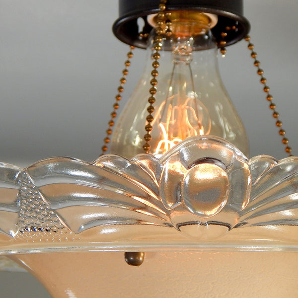 Light Lighting Ceiling 3 Chain Three Beaded Semi-Flush Vintaghe Antique 1940s Interior Rejuvenation Restoration HArdware Vintporium Restored Home Improvement