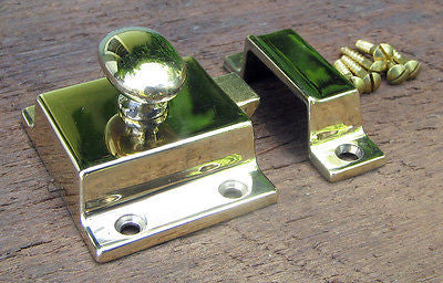 Reproduction Large Solid Brass Cabinet Latch (Polished Brass Lacquer Free) - Vintporium Architectural Salvage
