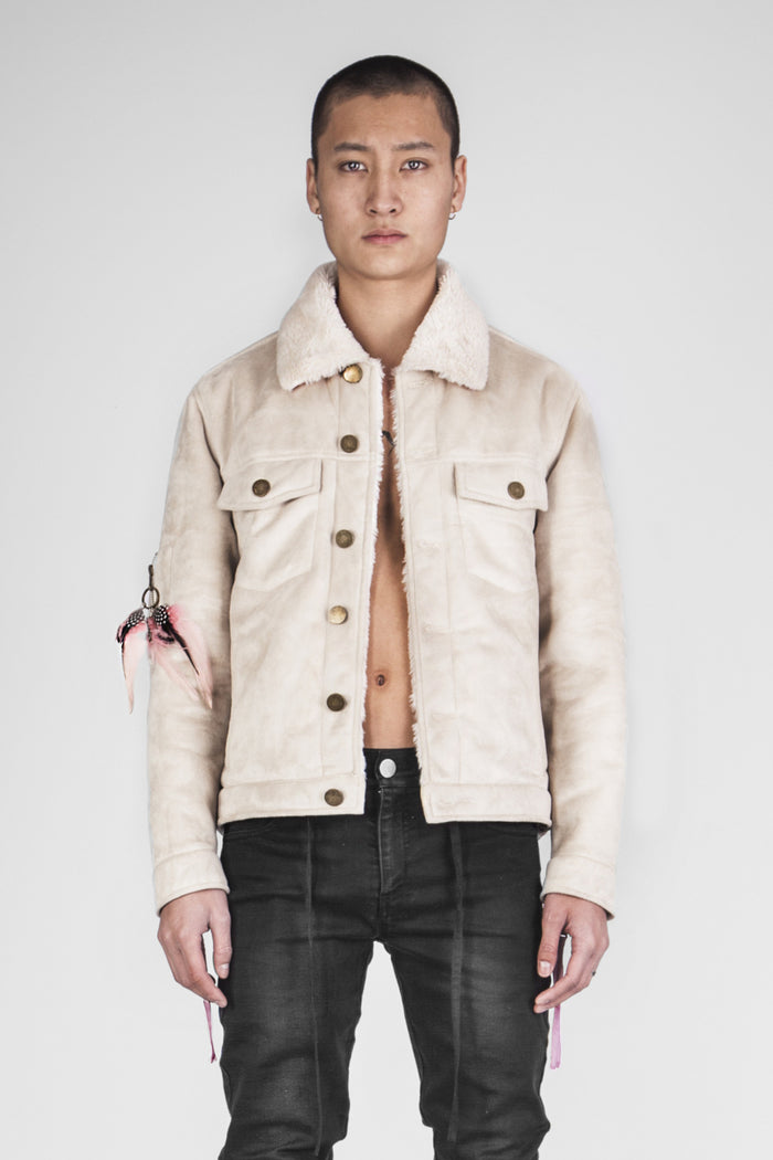 Cream suede shearling jacket