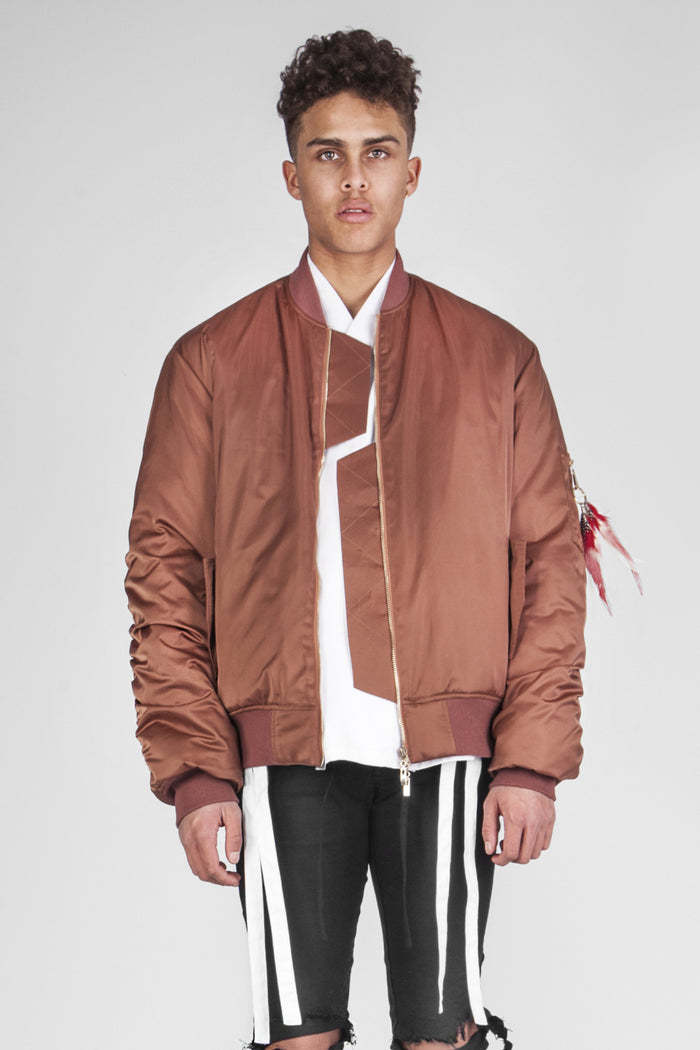 Bronze shiny bomber jacket