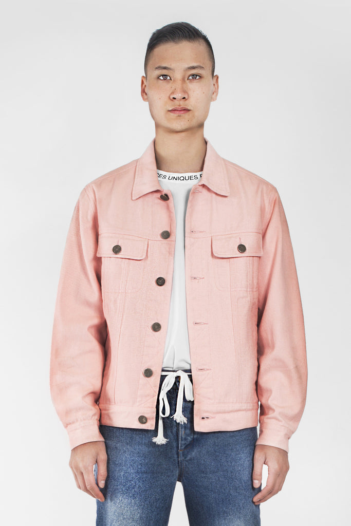 Pink souvenir logo denim jacket