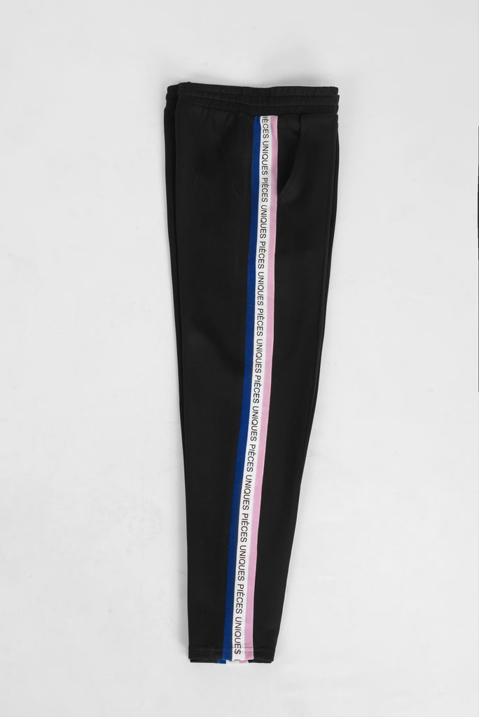 Black jogger pants tricolor tape