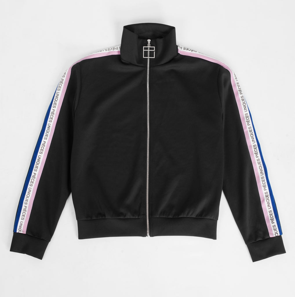 "Black ""La Clé"" track jacket tricolor tape"