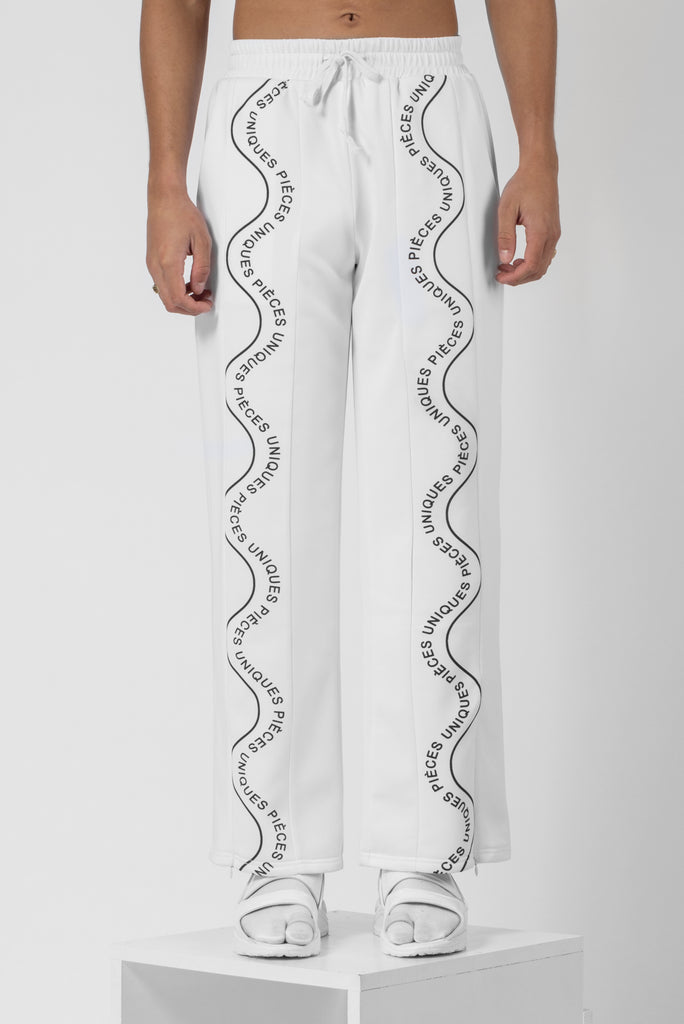 Virgin white® large jogger pants printed wave tape