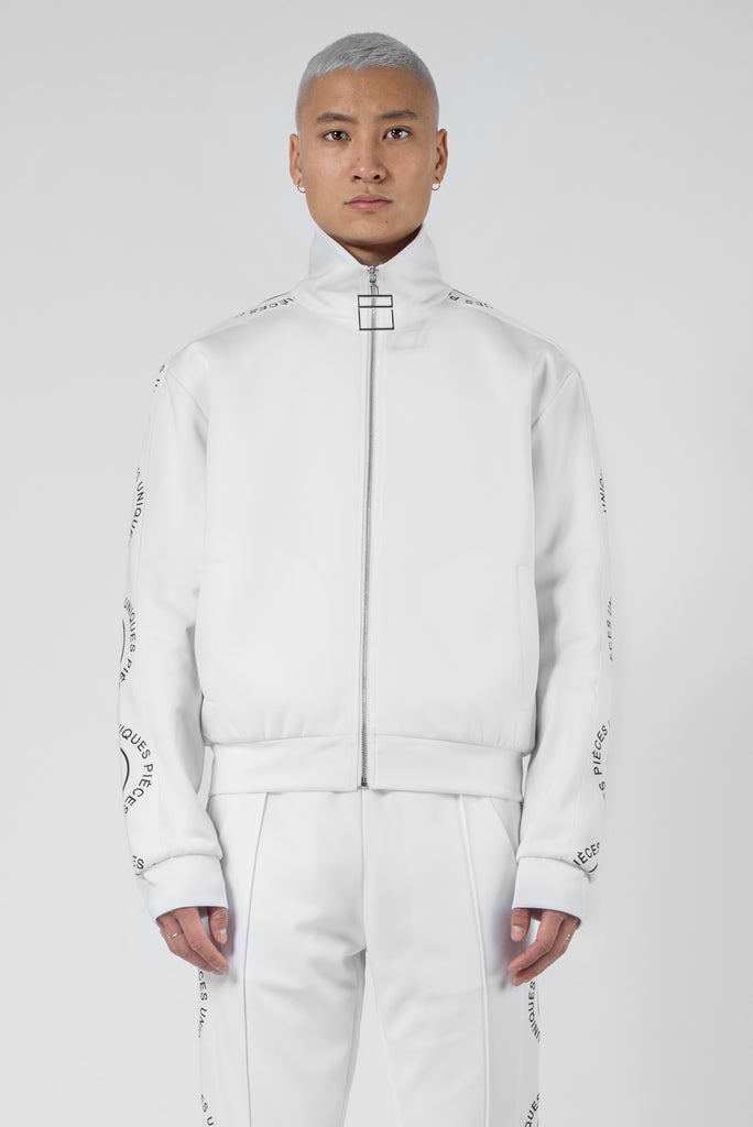 "Virgin white® track jacket ""La Clé"" wave printed"