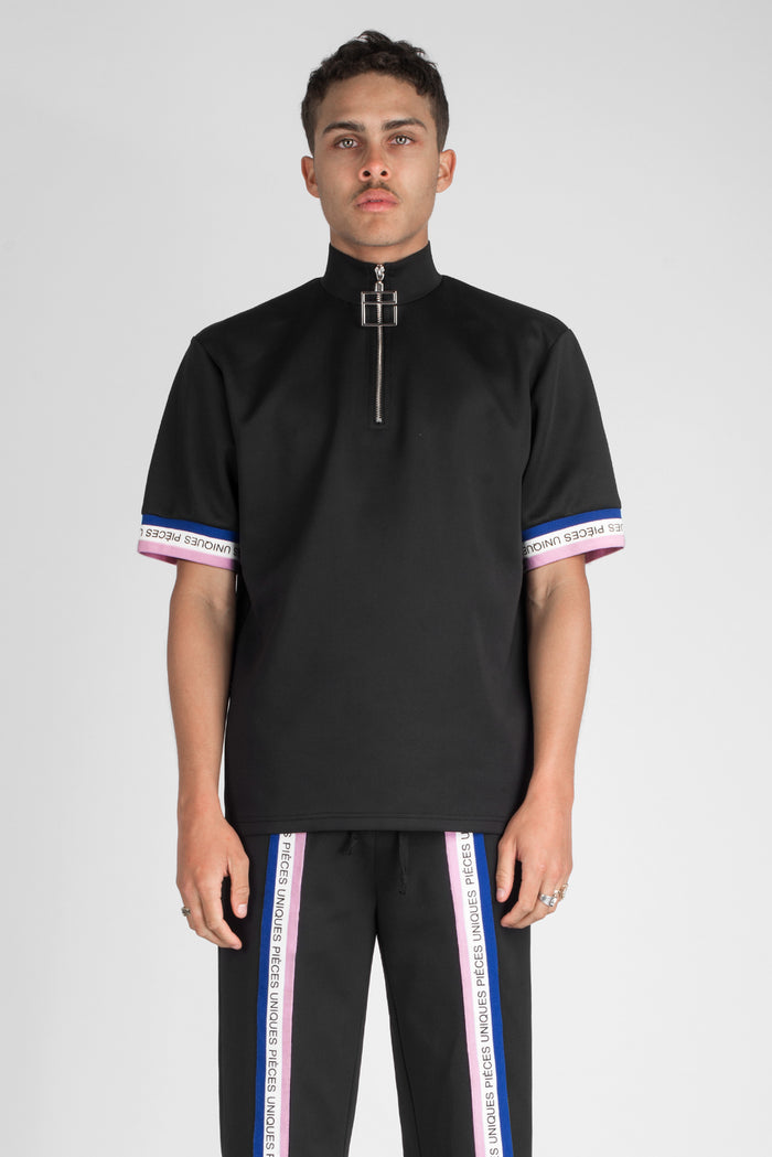 "Black ""La Clé"" turtle neck t-shirt tricolor tape"