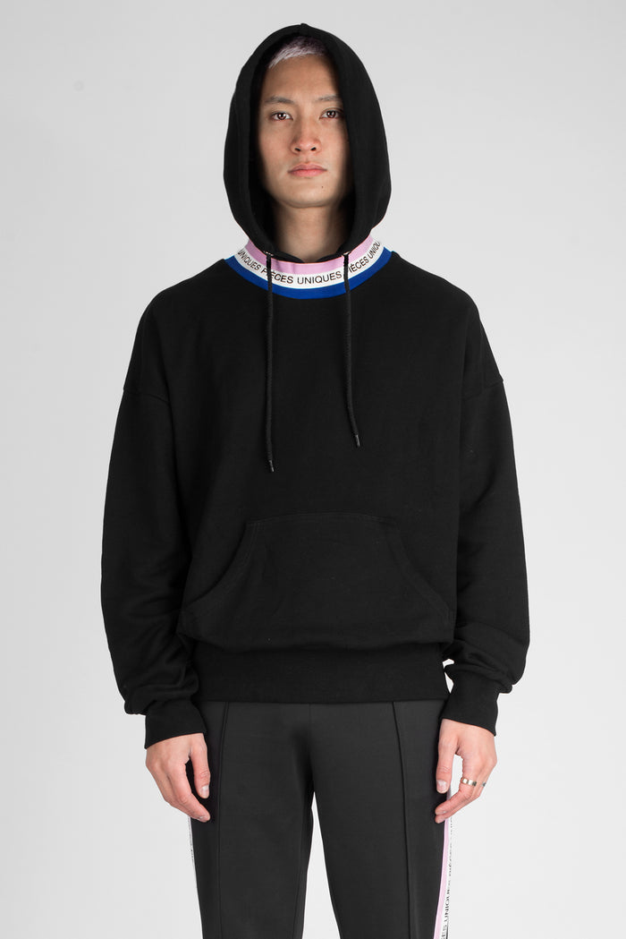 Black hoodie tricolor tape collar