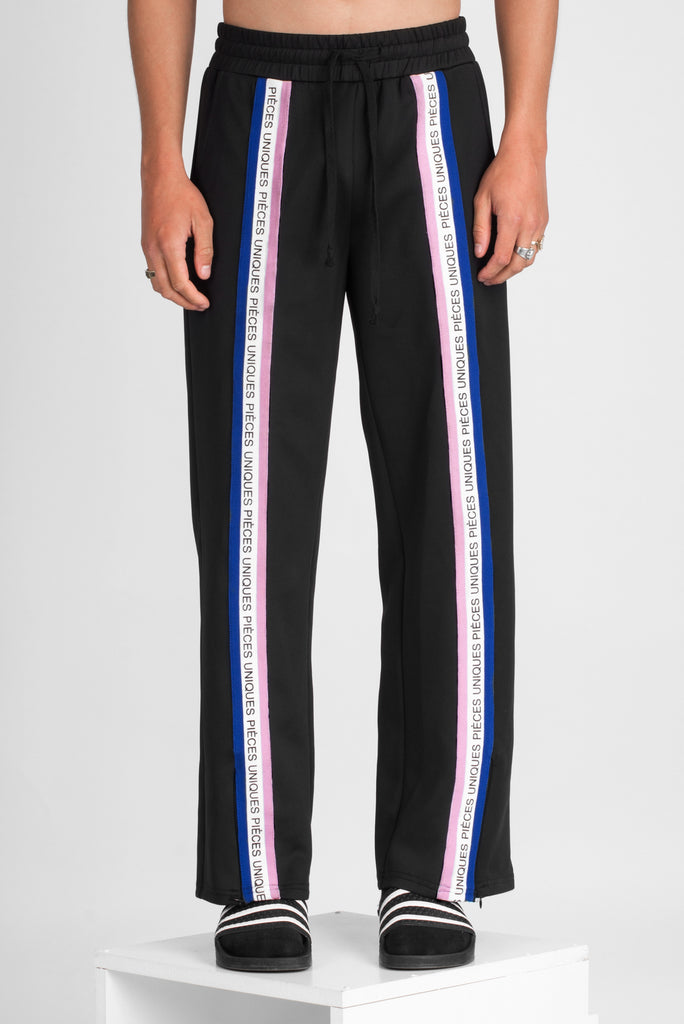 Black large jogger pants tricolor tape