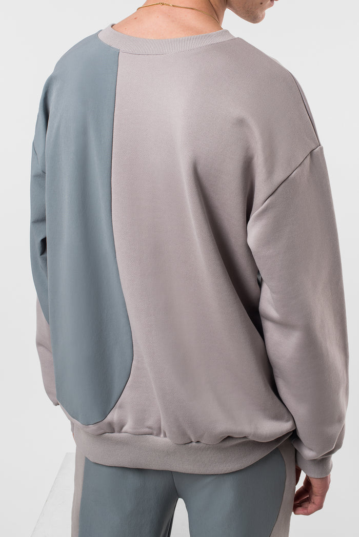 Neutral Grey Bi-Material Crewneck Sweatshirt