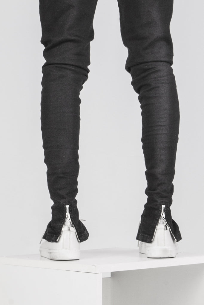 Double zip minimalist black jeans