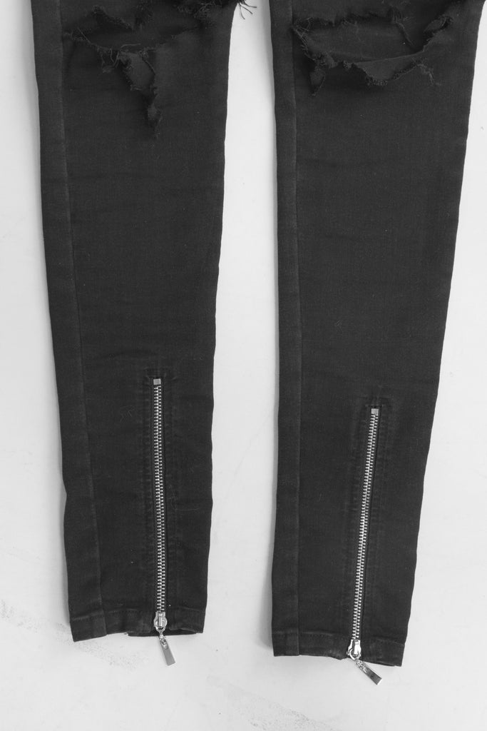 Double zip black distressed jeans