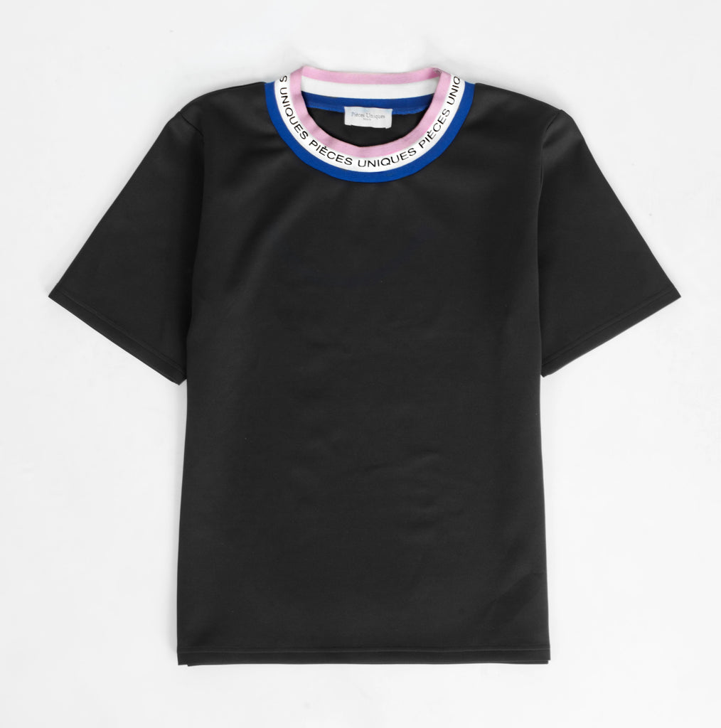 Black t-shirt tricolor tape