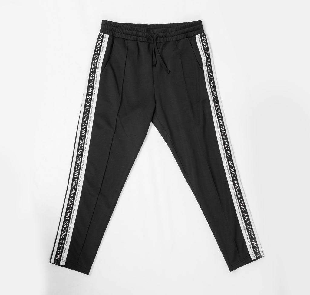 Black jogger pants elastic brand tape