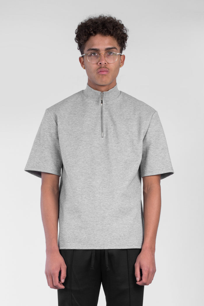 Grey zip turtle neck t-shirt
