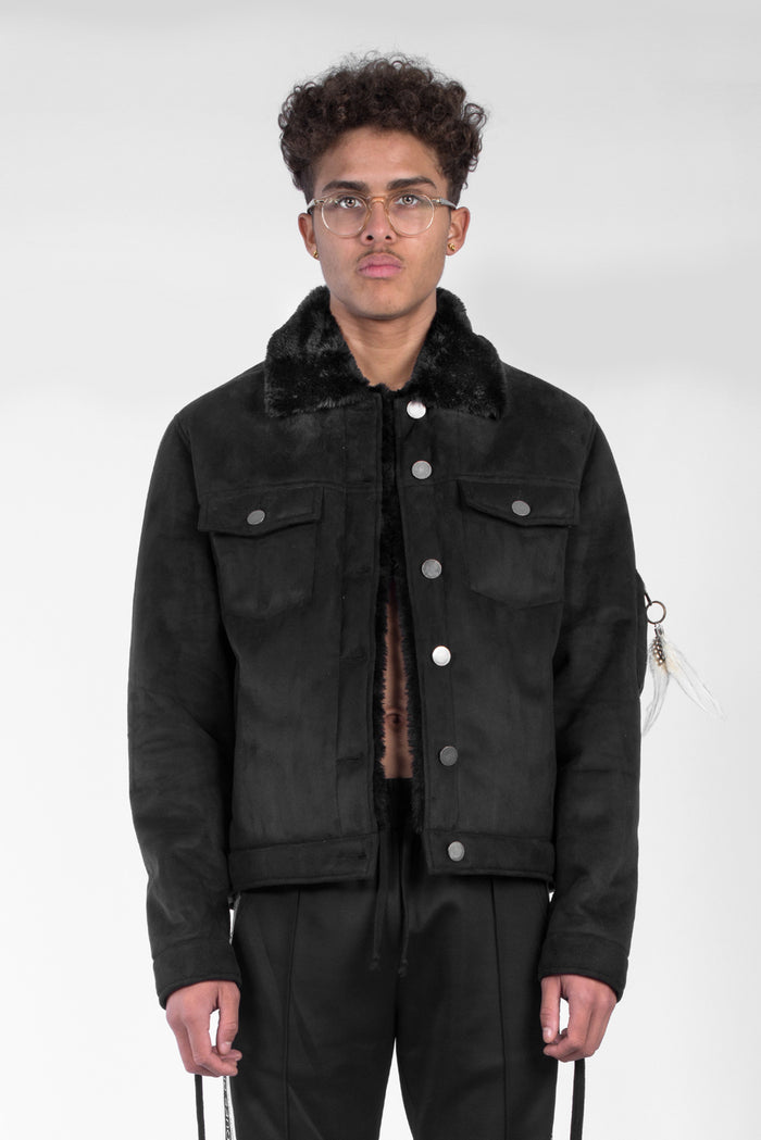 Charcoal suede shearling jacket