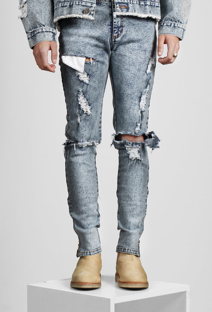 Vintage blue distressed zip jeans