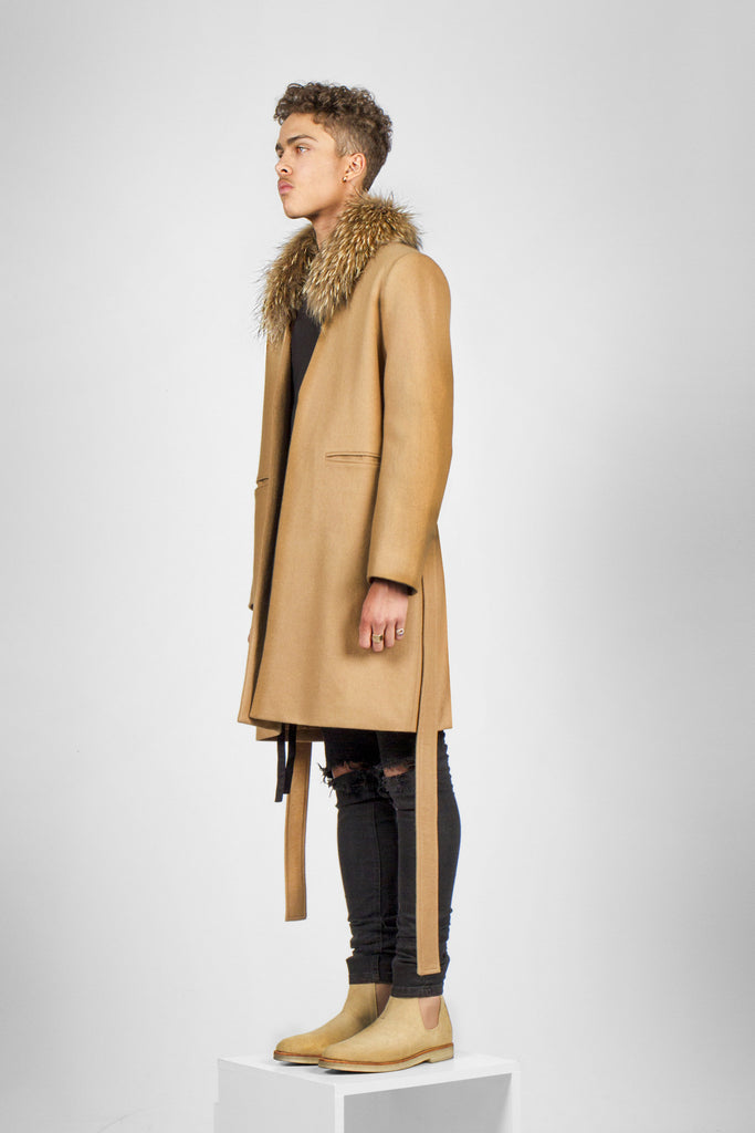 Camel fur overcoat