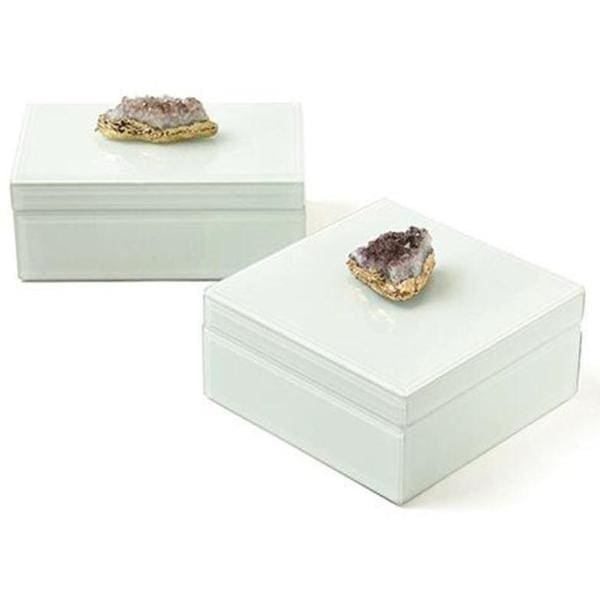 Amethyst Geode Hinged Glass Lined Box