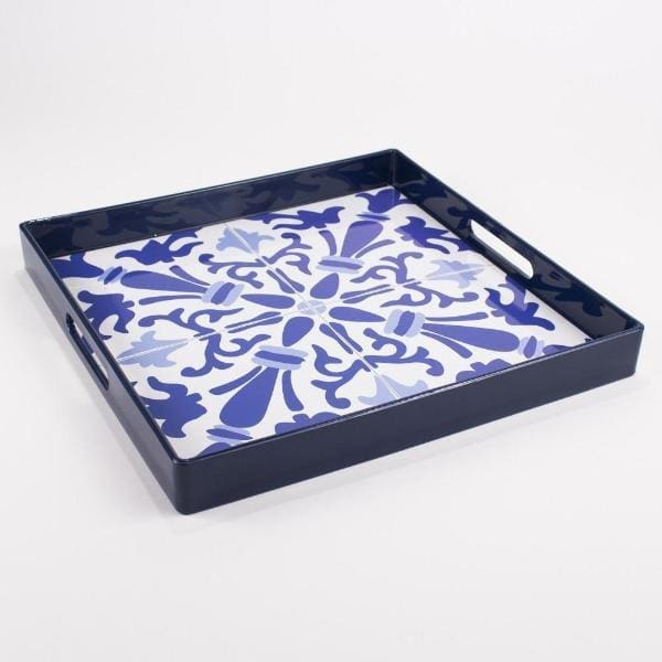 Blue And White Patterned Tray - Trays