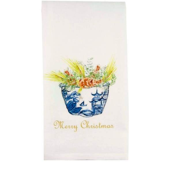 Blue-White Bowl with Christmas Greens Dishtowel