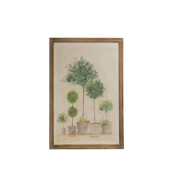 Boxwood Topiary Wood Framed Print