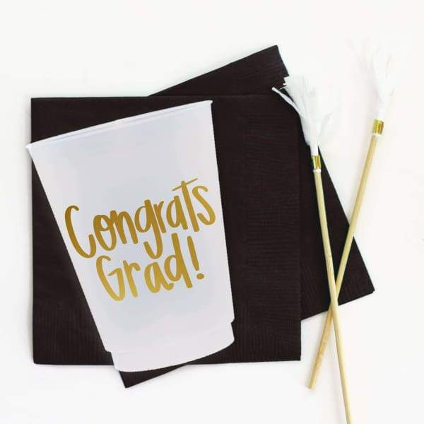 When it Rains Paper Co. - Congrats Grad Frosted Shatterproof Cups - default