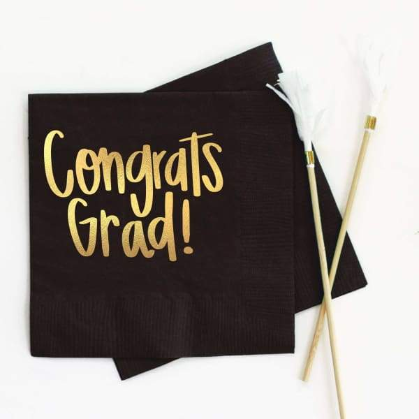 When it Rains Paper Co. - Congrats Grad - Graduation Party Foil Cocktail Napkins - Black