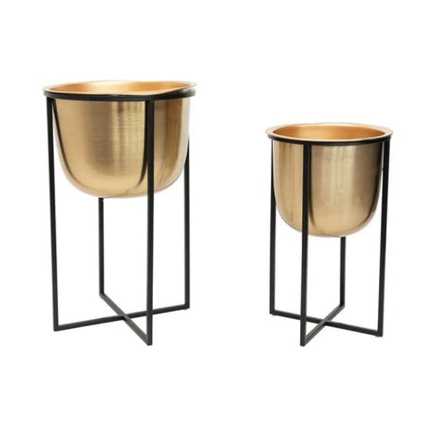 Gold Planters with Metal Stands-set of 2